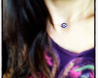 Simple Evil Eye/Evil Eye Necklace - Choose Gold or Silver Finish