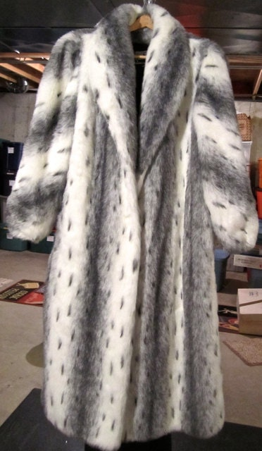 Luxurious Winter Faux Fur Long Coat Black White Grey