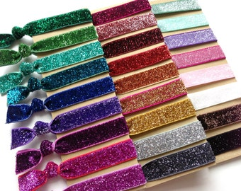 Pick 3 Handmade Elastic Glitter Hair Ties, Customize, Personalize, 26 Colors to Choose From,