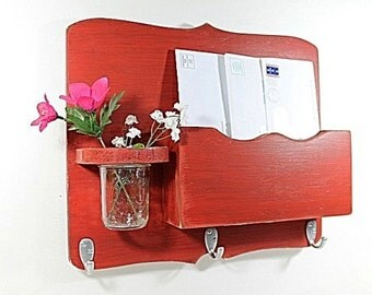 Large Mail Organizer, shabby chic, floral vase, mail holder, key hooks, mail holder, wood, distressed, vintage, home decor,painted Rich Red