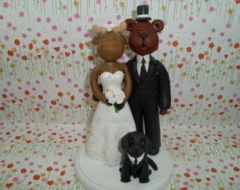 Customized Moose And Bear Wedding Cake topper