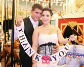 Thank You wedding banner/ garland for gift table Handheld Thank You Card Sign Photo Prop CUSTOMIZE your wedding color