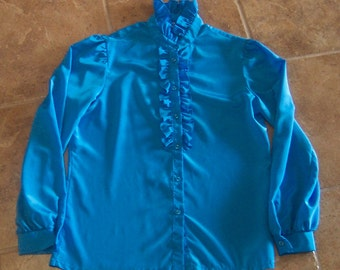 Jessica West 60s 70s Vintage Blouse ruffles Sissy Turquoise long sleeve 12 victorian