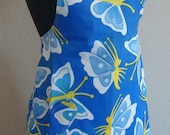 Blue Butterflies and Teal Polka Dots Reversible Apron with FREE Matching Hot Pads