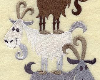 Goat Stack - Embroidered Decorative Absorbent White Cotton Flour Sack Towel, Linen Tea Towel, Waffle Towel, Kitchen Towel