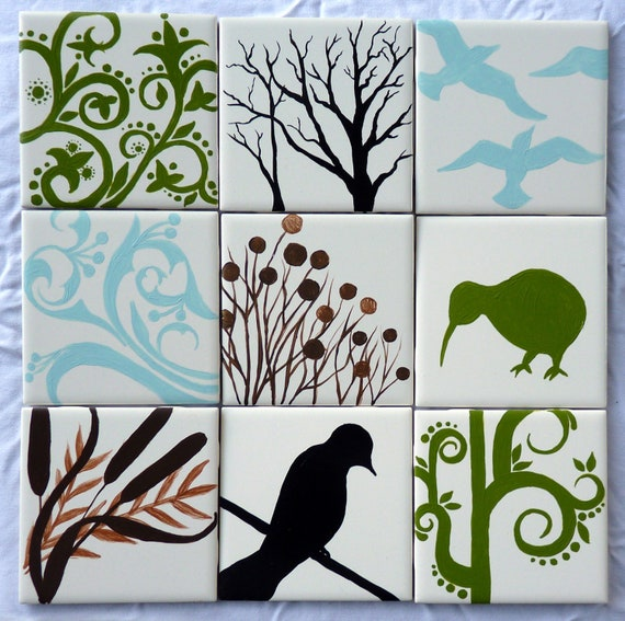 Set of Nine (9) Nature-Themed Hand-Painted Ceramic Tiles