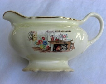 Homer Laughlin China Virginia Rose Shape - Colonial Kitchen Pattern - Creamer with Gold - Vintage 1949