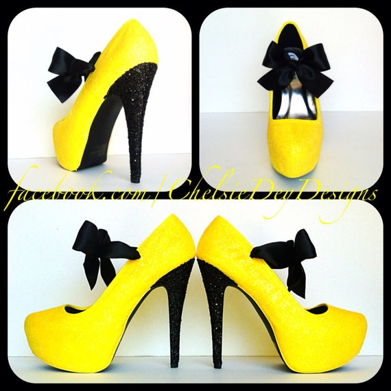 and Yellow Glitter Pump High Heels with Satin Bows