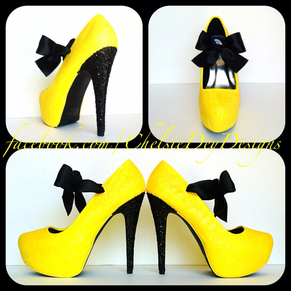 Black and Yellow Glitter Pump High Heels with by ChelsieDeyDesigns