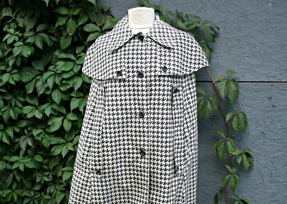 1960's-70's Houndstooth Cape