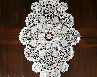 Lacy Crocheted Table Runner / Vintage Inspired Decor / Vintage Wedding / Custom Designed Crochet Holiday Table Doily / Wedding Table Decor