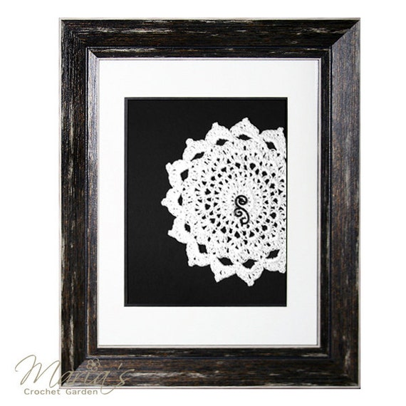 Vintage inspired crocheted doily artwork crochet wall decor - Vintage inspired wall art ...