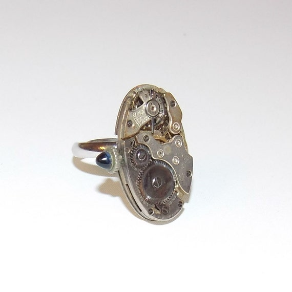 Sapphire Jeweled Steampunk Watch Movement Adjustable Ring