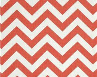 "Coral Table Runner-  Coral Chevron Table Runner- Coral and White Zigzag  Table Cloth  48"", 60"",72"",84"",96"" Runner or 12 x 18""Placemat."