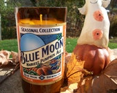 Pumpkin Pie Scented Soy Candle in Upcycled Blue Moon Harvest Pumpkin Ale Bottle