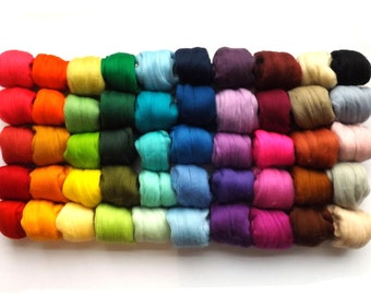 50 colours - Merino wool tops - 21 micron - 50 colors - 500g - 17.6oz - needle felting - dry felting - wet felting