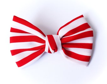 SALE 50% OFF Red and White Striped Bow Hair Clip