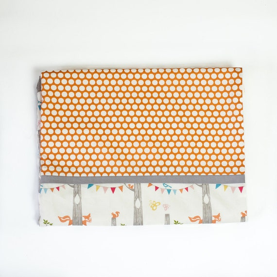 fox party with orange dots organic cotton and fleece crib blanket