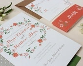 Floral Wedding Invitation, Calligraphy, Modern, Garden Wedding Invitations, Wedding Invitation Suite with Belly Band - Floral Script Deposit
