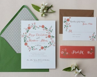 Floral Wedding Invitation, Calligraphy, Modern, Garden Wedding Invitations, Wedding Invitation Suite with Belly Band - Floral Script Sample