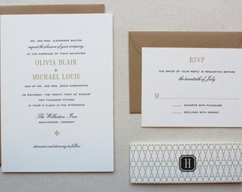 Wedding Invitations, Elegant Wedding Invitation, Black and Gold, Wedding Invitation Set with Clasic Pattern Belly Band - Vermont Sample