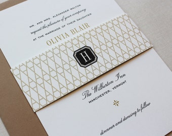 Classic Wedding Invitations, Black and Gold, Custom Wedding Invitations with belly band - Vermont Wedding Invitations | Deposit