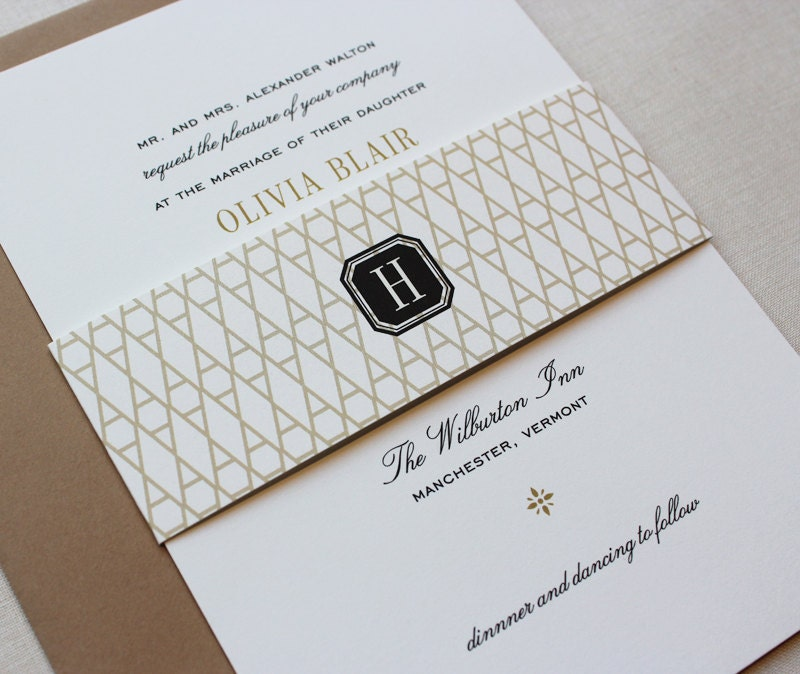classic wedding invitations black and gold custom wedding,