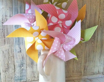 Pinwheels - Aloha Sunshine Collection - Set of 8 Pinwheels - Pink Yellow and Green Pinwheels - Easter Party - Easter Brunch