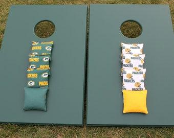 CORNHOLE SET 24x48 Green Bay Packers NFL Game with 8 Bags Quality Custom Handmade