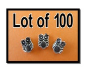 LOT OF 100 - Owl Beads - Silver Plated Jewelry