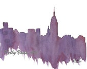 "Purple New York City Skyline, 8.5x11"" Print - KellyVaasArt"