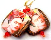 Earrings womens jewelry pierced rose pink shrimp coral beaded wooden Frida Kahlo statement gold metal red TAGT tenX