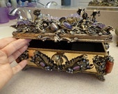 Museum Quality Antique Austro Hungarian Jeweled Silver Jewelry Music Box Gilded