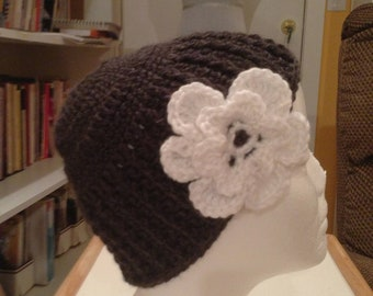 Charcoal Grey Hat with White Crocheted Flower