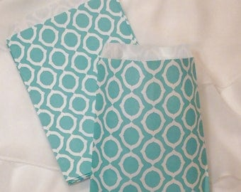 24 VINTAGE AQUA Mod LINKS Party Favor Bags, Candy Buffet, Wedding, Baby Shower. Treat Bags