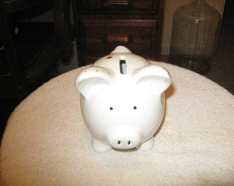 Collectible Ceramic Piggy Bank With Flowers Painted On It