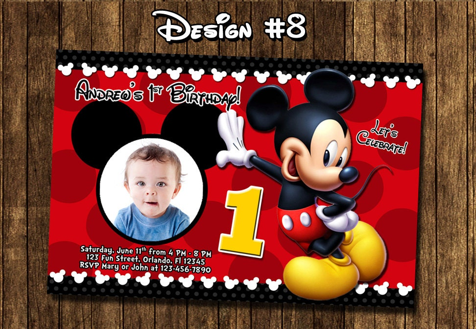 Mickey Mouse Baby Boy 1st 1 One First Birthday Party Photo