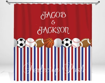 Sports Personalized Custom Shower Curtain Monogram with Name or Initials perfect for any bathroom