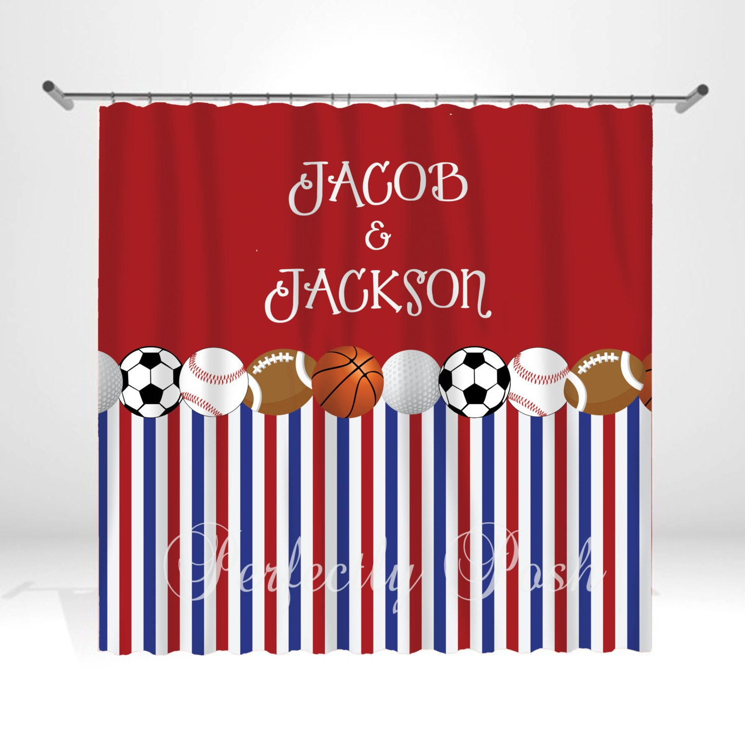 Sports Personalized Custom Shower Curtain Monogram With Name