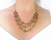 CLEARANCE SALE - Autumn Jasper Necklace - Beaded Multi Strand Necklace - Layered Necklace - Red and Green - EARTH Collection