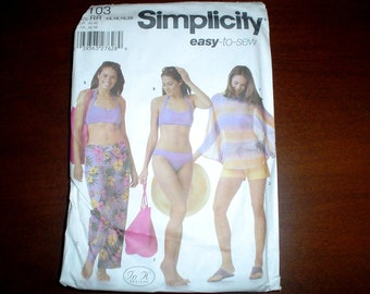 14 16 18 20 Swimsuit Shorts Cover up Sarong PATTERN  Simplicity 5103 Uncut