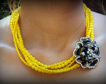 Yellow Necklace-Bridesmaid Gift-Statement Necklace-Yellow Jewelry-Yellow Bridesmaid Jewelry-Gifts Under 100-Dream Day Designs