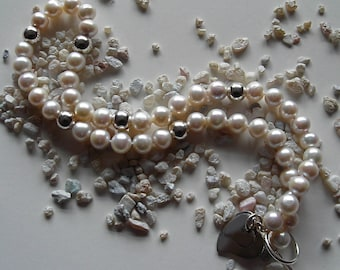 White Pearl Necklace - with Silver Hearts, Simple Elegance