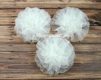 White Petti Puffs -  Chiffon Rosette Flowers - Set of 3