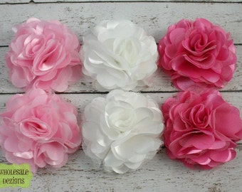 Satin and Tulle Ruffled Flower - Pink, White, and Light Pink - Solid Colored - 3""