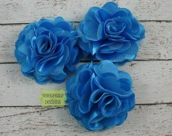 """Blue Satin and Tulle Ruffled Flower - Solid Colored - 3"""""""