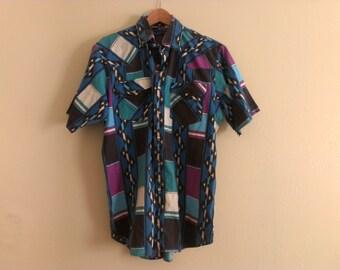 80s vintage men's large western shirt
