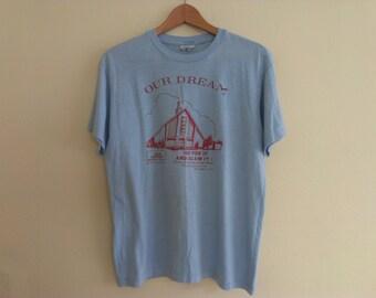 80s vintage men's large church t-shirt has spots