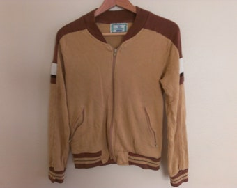 70s vintage men's extra small acrylic jacket tan and brown