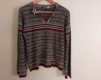 70s vintage women's medium bell sleeved acrylic sweater, tear in back bottom